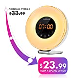 #2: Sunrise Alarm Clock with FM Radio & Snooze Function For Adults & Kids,6 Nature Sounds for Heavy Sleepers,7 Changing Colors for Mood Light,10 Brightness for Night Light