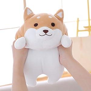 isilky Shiba Inu Dog Plush Pillow, Cute Corgi Akita Stuffed Animals Doll Toy Gifts for Valentine's Gift, Christmas,Sofa Chair, Brown Round Eye