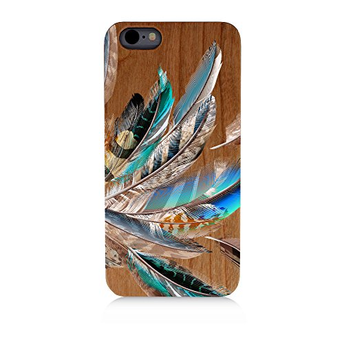 Colored Peacock Feathers Uv Print Cherry Wood Natural Wooden Case iPhone (Peacock Wood)