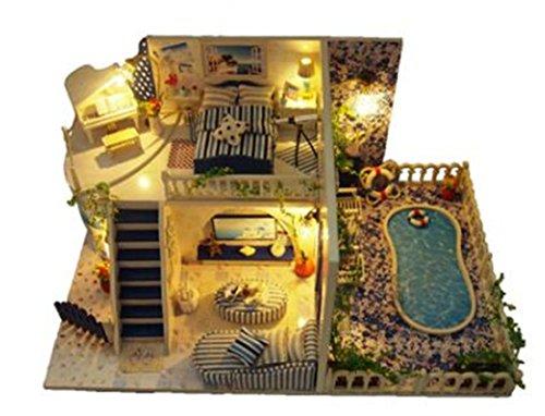 Tmrow 1pc DIY Santorini Dollhouse Wooden Miniature Kit X-mas Gift by Tmrow