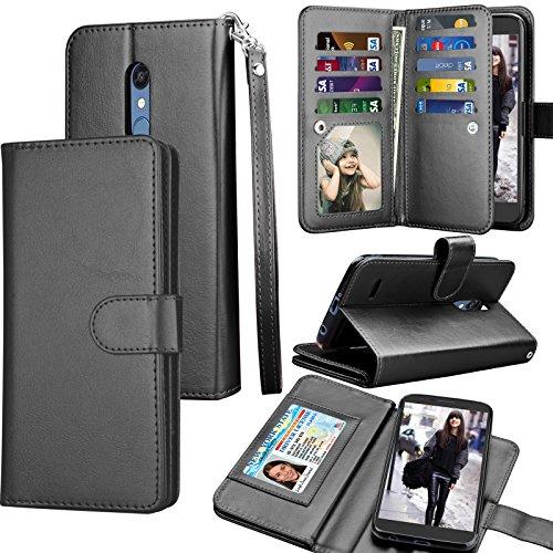 LG K30 Case,LG Harmony 2 / LG Xpression Plus/Phoenix Plus / K30 Plus/LG Premier Pro Wallet Case,Tekcoo ID Cash Credit Card Holder PU Leather Carrying Flip Cover [Detachable Magnetic Case] -Black