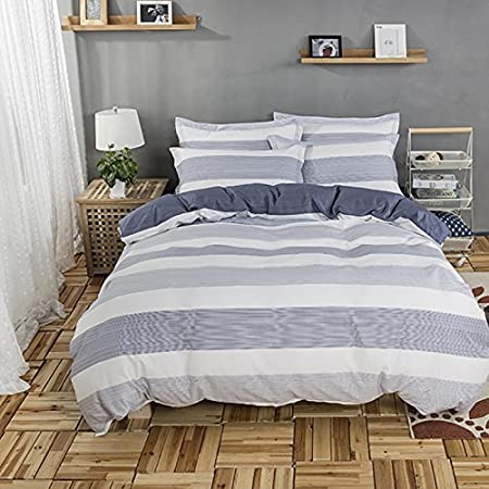2 Pillow Shams Twin Size, Simply Style FADFAY 3 Pieces Twin Bedding Set Striped Duvet Covers White and Grey Striped Duvet Cover Set 100/% Cotton Twin Bedding Sets 1 Duvet Cover
