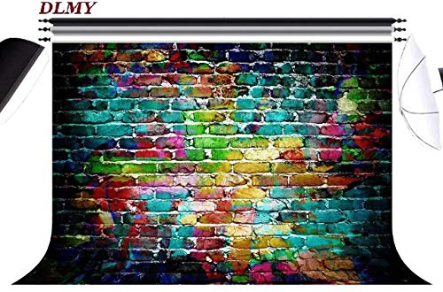 DLMY 7x5ft Colorful Brick Wall Photography Backdrop,Customized Photo Background for Studio Props (Color 1)