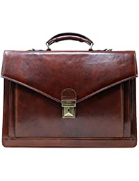 Ponza Full Grain Leather Briefcase in Brown