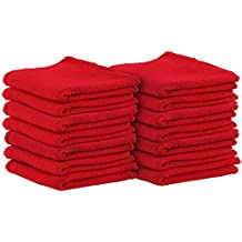 Shop Towels (Pack of 100, 13 X 13 Inches) Commercial Grade Machine Washable Cotton Washcloths Lint Free White Shop Rag - Perfect for Auto Mechanic Work and Bar Mop by Utopia Towel (Red)