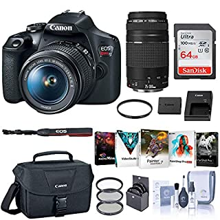 Canon EOS Rebel T7 DSLR Camera with EF-S 18-55mm and EF 75-300mm Lens Bundle with Bag, 64GB SD Card, Corel PC Photo and Video Software Pack and Accessories