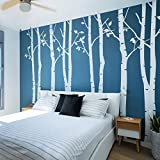 N.SunForest 8ft White Birch Tree Vinyl Wall Decals Nursery Forest Family Tree Wall Stickers Art Decor Murals - Set of 8