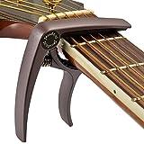 ELEOPTION Guitar Capo Acoustic For Electric Guitars 6 String Acoustic No Fret Buzz Lightweight Aluminum Metal Material Quick Change Guitar Accessories Also for Ukulele Banjo Mandolin (Cafe)