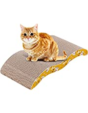 Mumoo Bear Cat Scratcher, 2 in 1 Cat Scratching Pad Post Bed Lounge Durable Both Sides Available Cardboard with Catnip for Cats Scratching and Relaxing
