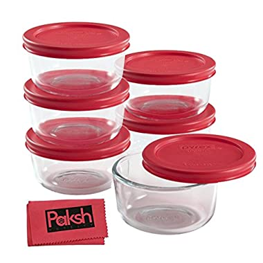 Simply Store 12-Piece Glass Food Storage Set with Lids [1 Cup] - Bundled with Cloth