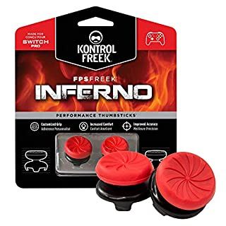 KontrolFreek FPS Freek Inferno for Nintendo Switch Pro Controller | Performance Thumbsticks | 2 High-Rise Concave | Red