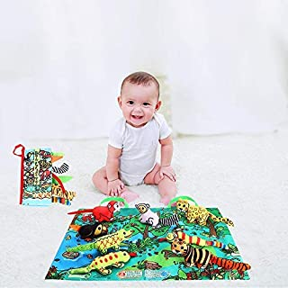 Luckstar Baby 3D Cloth Book Sets-Soft Reading Books for Newborn Babie, Cotton Fabric Book Box Sets for 1 Year Old and Toddler, Early Educational Toy for Boy & Girl, Touch & Feel Activity (Rainforest)