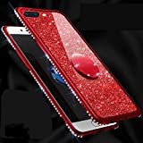 Amocase Glitter Case with 2 in 1 Stylus for Samsung Galaxy S10E,Luxury Girly 3D Diamond Bling Crystal Soft Silicone Rubber Clear Cover Case with 360 Ring Stand Holder - Red