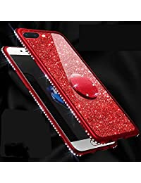 Amocase Glitter Case with 2 in 1 Stylus for Samsung Galaxy A7 2018/A750,Luxury Girly 3D Diamond Bling Crystal Soft Silicone Rubber Clear Cover Case with 360 Ring Stand Holder - Red
