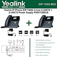 Yealink SIP-T40G 2PACK IP Phone 3-Lines HD Voice + PS5V1200US 2PACK Power Supply