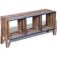 Daonanba Vintage-style TV Cabinet with 3 Shelves Stackable Reclaimed Teak Practical Stylish Side/ Console Table Sideboard Colorful