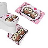 Owl Bathroom Mat Amagical 3 Piece Toilet Seat Cover and Rug Set Bathroom Non-Slip Lovely Owl Pedestal Rug + Lid Toilet Cover + Bath Mat Pink
