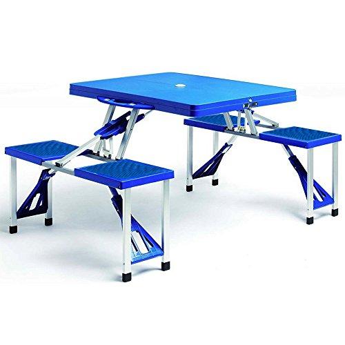Deuba Mesa Plegable de Camping con 4 sillas portatil Espacio para sombrilla Azul picnic Camping Exterior 137x85x65cm