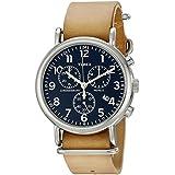 Timex Unisex TW2P62300 Weekender Chrono Tan Leather Slip-Thru Strap Watch