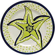 Caffco International Dana Wittmann Collection Ceramic Plates, Set of 4, 10.5-Inches in Diameter, Starfish