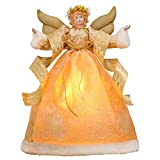 Valery Madelyn Elegant Champagne Gold 16.5 Inch Christmas Angel Tree Topper, White Angel Treetop with 10 LED Lights, Battery Operated (Not Included)