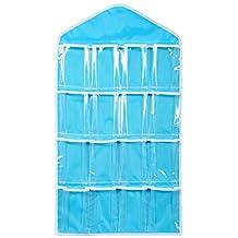 16 Pocket Over Door Hanging Bag Shoe Toy Hanger Storage Tidy Jewellery Organizer Colors:Blue