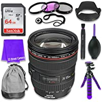 Canon EF 24–105mm f/4L IS USM Lens for Canon DSLR Cameras & SanDisk 64GB Class 10 Memory Card + Complete Accessory Kit (11 Items)