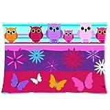 Custom Cartoon Owl with Flower Rectangle Soft Pillow Case Standard Size 20x30