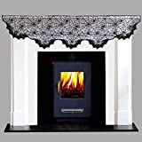 JunMu Happy Halloween Fireplace Mantel, 20 x 80 inch Halloween Spider Cobweb Fireplace Scarf Mysterious Lace Runner for Halloween Party Festival Scary Movie Nights