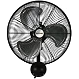 Hurricane Pro High Velocity Oscillating Metal Wall Mount Fan 20 inch - 736474 , Heavy Duty Wall Mount Fan for Industrial, Commercial and Greenhouse Use