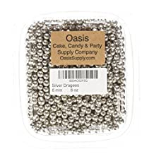 Oasis Supply Dragées Pécou Dragees 8-Ounce Sugar Cake Cupcake Cookie Sprinkles, 6mm, Silver