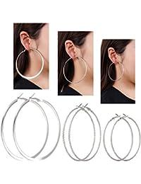 Multiple Hoop Earrings for Women VUJANTIRY Twist Textured Big Earrings Hoops Set 3 Pairs