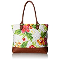 Parinda Allie White Floral Quilted Fabric w/Croco Faux Leather Travel Tote Bag Deals