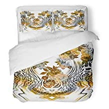 Emvency 3 Piece Duvet Cover Set Brushed Microfiber Fabric Breathable Africa Flowers Leopard Animal Bloom Blossom Botanical Botany Bouquet Cheetah Bedding Set with 2 Pillow Covers Full/Queen Size