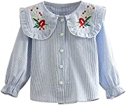 Mud Kingdom Little Girl Long Sleeve Shirt Peter Pan Collar Embroidery Floral