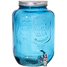 2 Gallon Ice Cold Quality Drink Blue Glass Mason Jar Drink Beverage Dispenser With Easy Flow Spigot Clear For Iced Coffee, Tea, Lemonade, Water For Picnics Parties Bbq – By Home Essentials & Beyond
