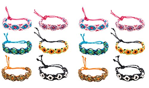 Frogsac 12 Pieces Fancy Braid Handmade Friendship Bracelets – Great Party Favors