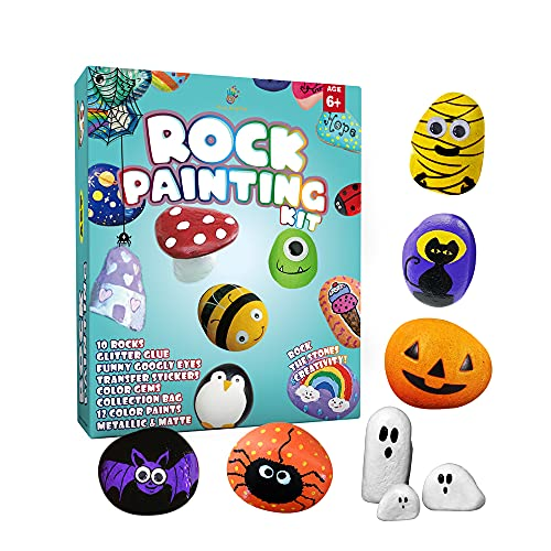 Rock Painting Kit for kids - Art Kit for Painting Rock - Arts and Crafts for Girls & Boys - Supplies for Craft Kits - Hide and Seek Actitivies, Creative Gift for Ages 6-12, Birthday Gift for kids