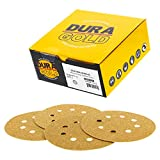 "Dura-Gold Premium - 60 Grit - 5"" Gold Sanding Discs - 8-Hole Dustless Hook and Loop for DA Sander - Box of 50 Finishing Sandpaper Discs for Woodworking or Automotive"