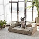 Brentwood Home Runyon Orthopedic Pet Bed, CertiPUR Gel Memory Foam Dog & Cat Lounge, Washable Cover, Waterproof Liner, Made in California, Sandstone, Small