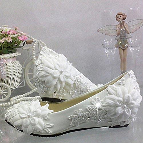Blanc UK5 JINGXINSTORE Caler avec des chaussures de mariage Strass Fleur dentelle mariage blanc mariage de demoiselle Chaussures Unique Perforhommece