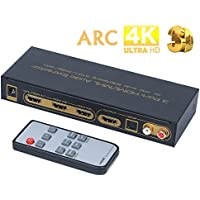 QiMH 3x1 4K HDMI Audio Extractor Splitter, HDMI Switch with 3 Port HDMI or MHL in, SPDIF & ARC L/R Audio Out, Supports ARC, 4Kx2K, Full 3D, 1080P