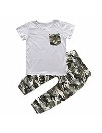 Summer 2Pcs Baby Boy Short Sleeve Camo Grey Pocket T-shirt Top Tee+Pants Set