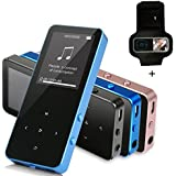 MP3 Player - HonTaseng Portable Metal Touch Button Music Player With Armband, Build-In Speaker Lossless Sound 30 Hours Playback With FM Radio And Voice Recorder, Expandable 64GB SD Card-Blue