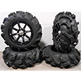 "Bundle - 9 Items: MSA Black Diesel 14"" ATV Wheels 27"" Mega Mayhem Tires [4x156 Bolt Pattern 3/8x24 Lug Kit]"