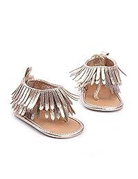 Infant Newborn Baby Girl Summer Anti-Slip Soft Sole Crib Shoes Tassel Moccasin Sandal