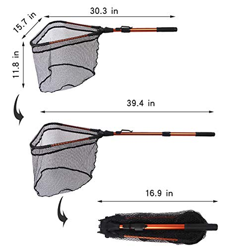 FunVZU Fishing Net Folding Landing Net - Collapsible Fishing Nets with Telescopic Pole Handle, Durable Rubber Coating Knotless Mesh, Safe Fish Catching and Releasing