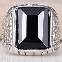 Nongkhai shop Huge 5.5Ct Black Sapphire 925 Silver Women Wedding Engagement Ring Size 6-10 (9)