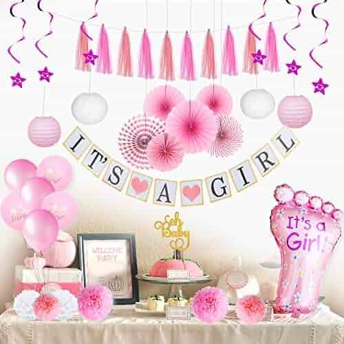 Baby Shower Decorations for Girl – BabyShower Backdrop I Baby Girl Shower Decorations Items with It's a Girl Banner I Star Swirls I Foot-Shaped Foil Balloon I Pompoms I Lanterns