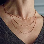 Handmade Satellite Chain Necklace in Gold Rose Gold Hematite or Sterling Silver. Layered Triple Strand
